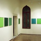 Maria Morganti, installation view at Fondazione Bevilacqua La Masa, 2006. Untitled, oil on canvas, 50 x 60 cm. Courtesy Otto Zoo