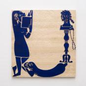 Jani Ruscica, U for Ultramarine, 2016, wood relief, 90x86 cm. Courtesy Otto Zoo. Ph. Luca Vianello