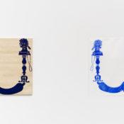 Jani Ruscica, U for Ultramarine, 2016, wood relief, 90x86 cm. U for Ultramarine, woodcut, 96x98 cm. Ed. 1 + 1AP. Courtesy Otto Zoo. Ph. Luca Vianello