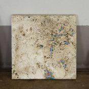Maria Morganti, Nei Travertini #6, 2015, Pieve a Presciano, plasticine, travertine, 20 x 20 x 1 cm max. Courtesy Otto Zoo