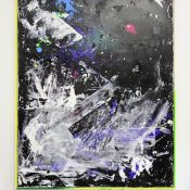 Tiziano Martini, Untitled, 2016, acrylics, dirt from the studio and monothype process on white acrylic paint on primer on cotton, composed artist frame, 162 x 122 cm. Courtesy the artist and Otto Zoo