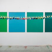 Maria Morganti, Sedimentazione a ritroso (polyptych in four parts) Venezia, 2013, oil on canvas, 400 x 90 cm (each painting 110 x 90 cm). Courtesy Museo MAMbo, Bologna. Ph Francesco Allegretto