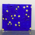 Serena Vestrucci, Strappo alla regola, N°1,2013,European flag canvas,cotton thread mounted on wood,200x150 cm. Courtesy Otto Zoo