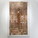 TSSR, Attraversare il paesaggio, Pelle_04, 2016, rust, mould, dirt on cotton, 290x175cm. Photo Elisa Bonura