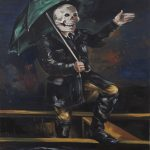Gregory Forstner, Rain Dog or The Umbrella Man (singing in the rain), 2010, oil on linen, 250 x 200 cm. Courtesy Otto Zoo