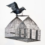 Mithu Sen, Crow, 2009, fibre glass, feathers, beads, bandaid and metal bird cage, 35.5 x 39 x 12 cm. Courtesy Otto Zoo