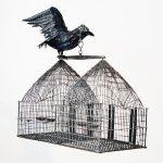 Mithu Sen, Crow, 2009, fibre glass, feathers, beads, bandaid and metal bird cage, 35.5 x 39 x 12 cm. Courtesy Otto Zoo