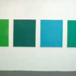 Maria Morganti, Sedimentazione a ritroso (Polittico in 4 parti), Venezia, 2013, oil on canvas, cm 400x90 (each painting cm 110x90). Courtesy MAMbo and Otto Zoo