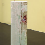 Tiziano Martini, Untitled, 2014, chalk, acrylic pigment, old tape, nylon, pvc, iron 93x30x30 cm. Courtesy Otto Zoo. Ph Rossetti