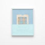 Davide D'Elia, Il Biondo, 2018, vintage paper passepartout, tartan, antifouling painting, wood frame, 50x60 cm. Courtesy Otto Zoo. Ph. Luca Vianello