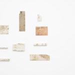 Maria Morganti, Nei Travertini #2, #3, 4, #5, #6, #7, #10, #11, #12, 2015, Sedimentazione 2008 #2, instalaltion view. Courtesy Otto Zoo. Ph. Luca Vianello