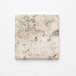 Maria Morganti, Nel Travertini #6, 2015, Pieve a Presciano, plasticine, travertine, 20 x 20 x 1 cm max. Courtesy Otto Zoo. Ph. Luca Vianello.