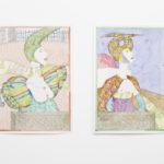 Nikita Alexeev, PIN-UPS, Repose, 2011 ink, watercolor on paper, 75x65 cm. PIN-UPS, Clarity, 2011, ink, watercolor on paper, 75x65 cm. Courtesy Otto Zoo. Ph. Luca Vianello.