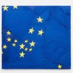 Serena Vestrucci, Strappo alla regola, 2013, European flags canvas, cotton thread, three months, 110x100 cm. Courtesy Otto Zoo. Ph. Luca Vianello