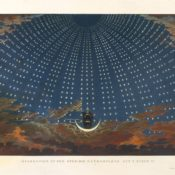 Karl Friedrich Schinkel, 1816, Design for The Magic Flute: The Hall of Stars in the Palace of the Queen of the Night, Act 1, Scene 6