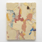 Franco Arocha, Lo ha aprendido todo de la humedad del tiempo (Venezia), 2019, paint fragments on wooden panel, 50x40 cm. Courtesy Otto Zoo. Ph. Luca Vianello