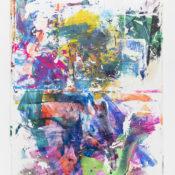 Tiziano Martini, Coghe ne, ghe nè, 2019, acrylics and monotype process on cotton, 160x120 cm. Courtesy Otto Zoo. Ph. Luca Vianello