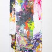 Tiziano Martini, Vers e fasoi sbrega i lenzoi, 2019, acrylics and monotype process on cotton, 200x100 cm. Courtesy Otto Zoo. Ph. Luca Vianello