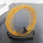 Stefano Comensoli_Nicolò Colciago, A passo leggero, 2020, cast iron, asphalt, cable puller, 110x115x60 cm. Courtesy Otto Zoo. Ph. Luca Vianello