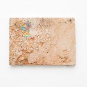 Maria Morganti, Nel Travertini #5, 2015, Pieve a Presciano, plasticine, travertine, 28 x 20 x 1 cm max. Courtesy Otto Zoo. Ph. Luca Vianello.